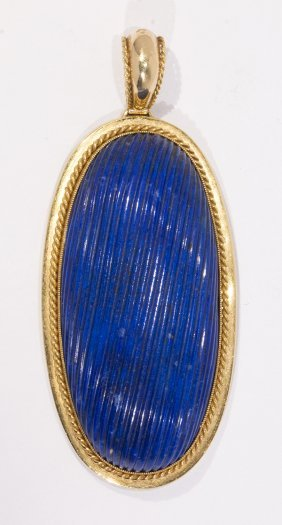 Carved Lapis Lazuli And 18k Yellow Gold Pendant