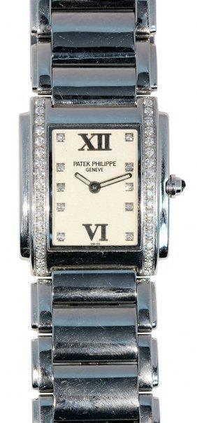 Lady's Patek Philippe Twenty-4 Diamond And Stainless