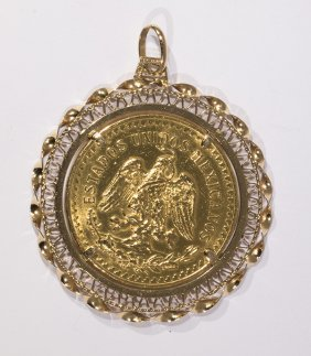 Mexican 50 Peso Gold Coin And 18k Yellow Gold Pendant