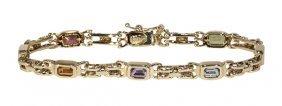 Multi-stone And 14k Yellow Gold Bracelet