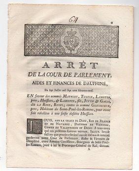 [france] Rare 1769 Printed Document