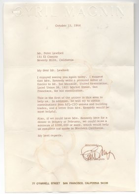 Letter To Peter Lawford About Jackie Kennedy