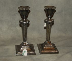 Pair Of Empire Style Silver Plated Candlesticks. H: