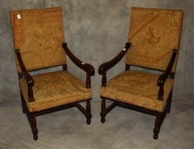 Pair Of 19th C. Continental Carved Oak Tapestry