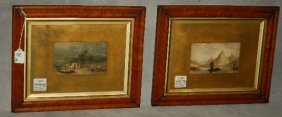 Pair 19th C. English School (norwich) Watercolors On