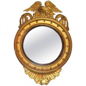 Federal Style Carved Gilt-wood Convex Bulls Eye Mirror.