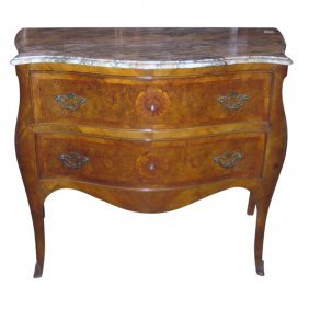 19th C. Italian Two-drawer Inlaid Marble Top Commode.