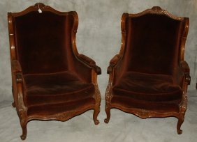 "Pair Of 19th C. Carved Mahogany Wing Chairs. H: 43"" W:"
