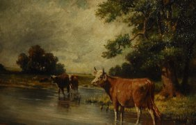 19th C. European School, Cows In A Landscape, Unsigned,