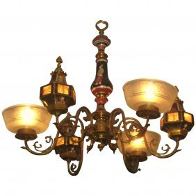 Porcelain And Bronze Chinoiserie Decorated Six-light