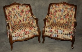 """Pair Of Louis Xv Style Carved Mahogany Bergeres. H: 36"""""""