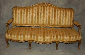 19th C. Louis Xv Style Carved Gilt-wood Settee. H: 44""
