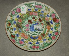 """Antique Chinese Famille Rose Plate. D: 9.75"""""""