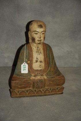 Chinese Carved Polychrome Hardwood Figure Of Buddha