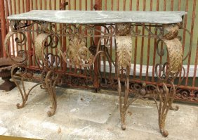 """Marble Top Iron Console Table. H: 33.5"""" W: 57.5"""" D:"""