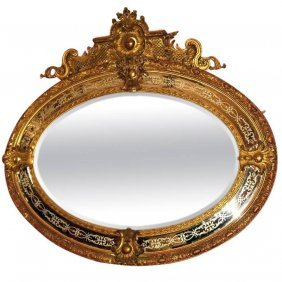 Large 19th C. Napoleon Iii Carved Gilt-wood Oval