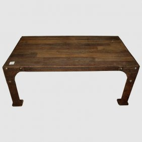Industrial Iron And Reclaimed Wood Top Coffee Table. H: