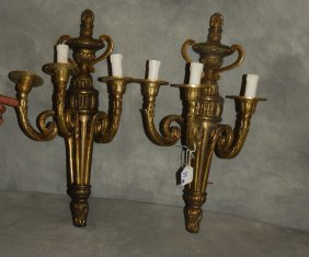 "Pair Of Bronze 3-light Wall Sconces. H: 21"" W: 12"" D:"