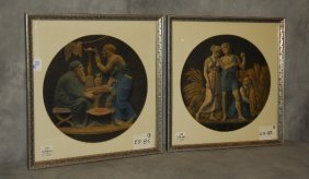 """Two Neoclassical Style Color Prints. 20.25"""" X 19.25"""""""