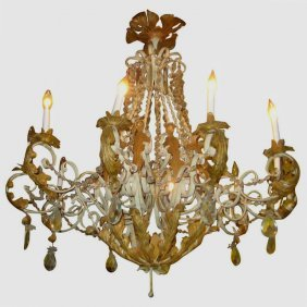 French Painted Iron And Gilt Metal And Crystal 10-light