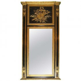 Neoclassical Gilt-wood And Painted Trumeau Mirror. H: