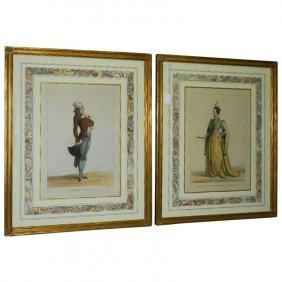 Achille, Deveria, Fr. 1800-1857, Two Hand-colored