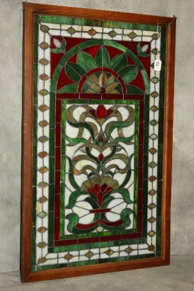 "Stain Glass Window Pane. 36"" X 22"""