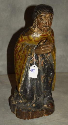 """18th C. Carved And Polychrome Santos Figure. H: 14.75"""""""