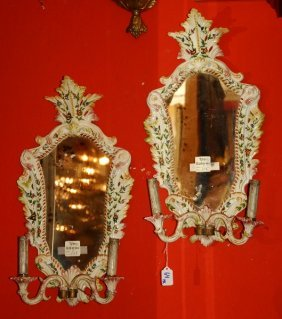 19th C. Pair Of Italian Porcelain Two Branch Girondole