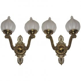 Pair Of Russian Empire Style Bronze 2-light Wall