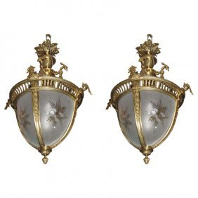 """Pair Of Bronze And Etched Glass Lanterns. H: 33"""" D: 20"""""""