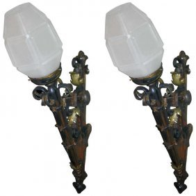 Pair Of 19th C. Italian Iron And Bronze Torchiere