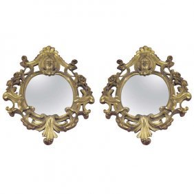 Pair Of 19th C. Italian Carved Gilt-wood Mirrors. H: