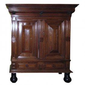 19th C. Dutch Carved Oak And Ebonized Cushion Cabinet.