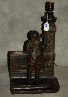 """Austrian Terracotta Figural Lamp. H: 17"""" W: 9.75"""" D:"""