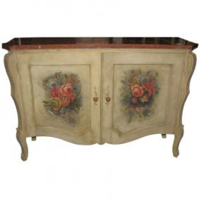 19th C. Continental Painted Marble-top 2-door Cabinet.