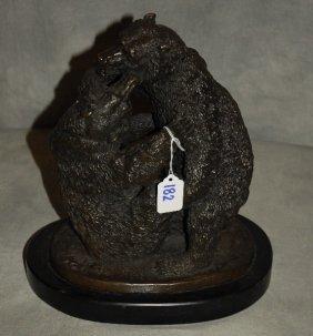 Bronze Figure Of Two Bears, Signed In Cast P.j. Mene On