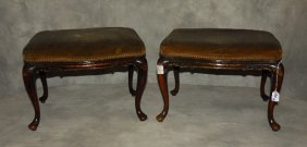 Pair Of 19th C. Queen Anne Carved Mahogany Benches. H: