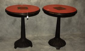 Pair Of Iron Base Laminated Top Bistro Tables. H: 32""