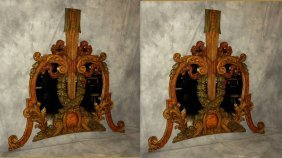 19th C. Continental Carved And Painted Mirror.