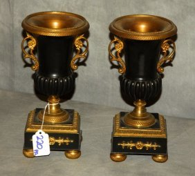 """Pair Of 19th C. French Empire Urns. H: 9.5"""""""