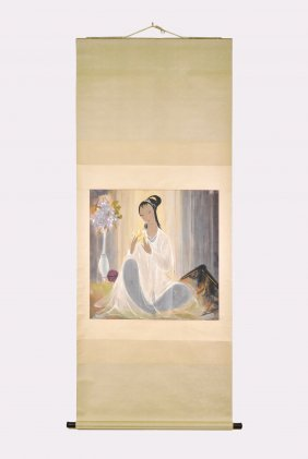 LI FENGMIAN (1900-1991), LADY WITH FLOWER, CHINESE