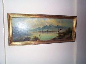 19 Th Century Oil On Board Mountain Scene. Local D