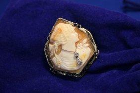 14k WG Diamond Hand Carved Shell Cameo; 2D = 0.11