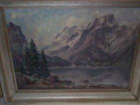 Original Oil On Board Depicting A Lake And Mountai