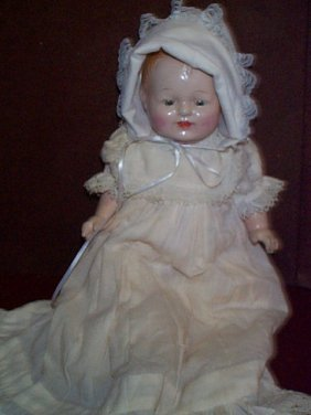 Antique Composition Head Doll With Cloth Body And