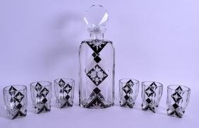An Art Deco Bohemian Black Flash Decanter And Glasses