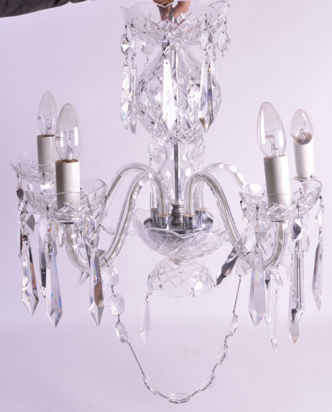 A large waterford crystal five branch chandelier of lot 591 - Chandelier a 5 branches ...