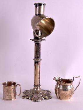 An Edwardian Silver Engraved Christening Mug Together