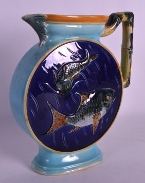 A Good 19th Century Majolica Ewer In The Manner Of
